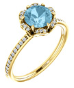 14K Yellow Gold Floral-Inspired Aquamarine and Diamond Ring