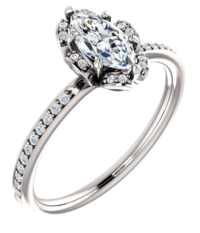 1/2 Carat Center Floral Marquise Diamond Engagement Ring