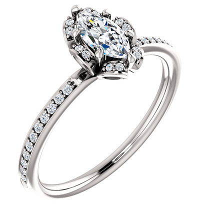 Floral Marquise Diamond Engagement Ring in 14K White Gold