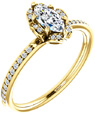 14K Yellow Gold Marquise Floral-Inspired Diamond Ring