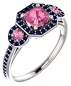 Pink and Blue Sapphire Three Stone Ring in 14K White Gold
