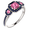 pink and blue asscher-cut sapphire ring