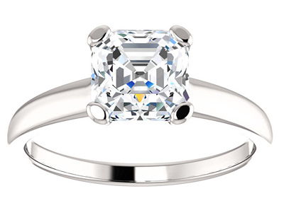 Asscher-Cut White Sapphire Ring in 14K White Gold
