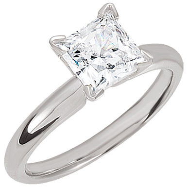 Princess-Cut Moissanite Solitaire Ring in 14K White Gold