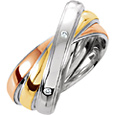 Tri-Tone Sterling Silver and 10K Gold Intertwined Wedding Band Ring with Diamond