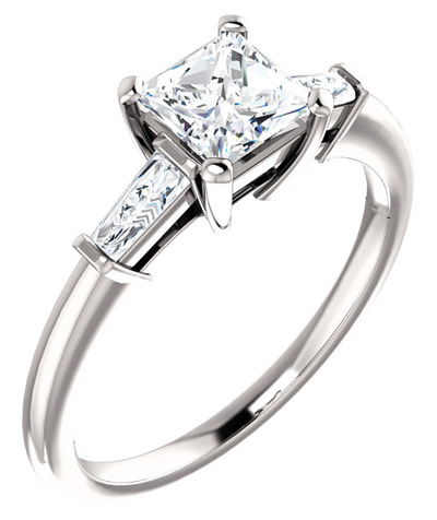 Princess-Cut and Baguette Cubic Zirconia Ring in 14K White Gold