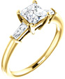 Princess-Cut and Baguette CZ Ring in 14K Yellow Gold