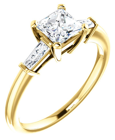 Princess-Cut and Marquise CZ Ring in 14K Yellow Gold