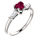 Heart-Shaped Garnet and Baguette Ring in Sterling Silver