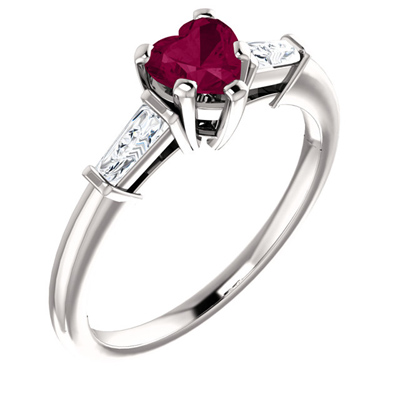 Heart-Shaped Garnet and Baguette Ring in 14K White Gold
