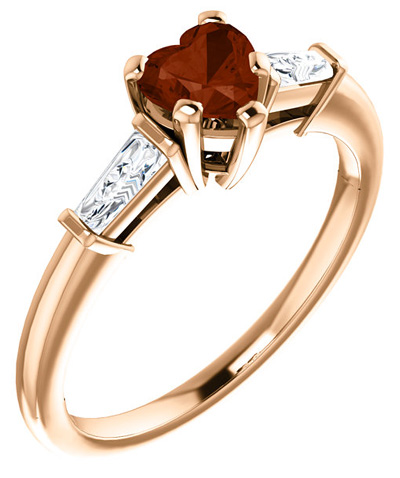 14K Rose Gold Heart-Shaped Garnet and Baguette Ring