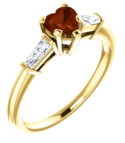 14K Yellow Gold Heart-Shaped Garnet and Baguette Ring