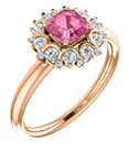 14K Rose Gold Asscher-Cut Pink Sapphire and Diamond Cluster Ring