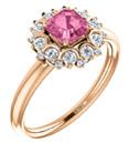 14K Rose Gold Asscher-Cut Pink Sapphire and Diamond Cluster Ring
