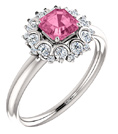 Asscher-Cut Pink Sapphire and Diamond Cluster Ring