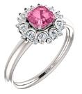Asscher-Cut Pink Sapphire and Diamond Cluster Ring