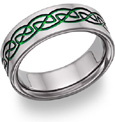 Green Titanium Celtic Wedding Band
