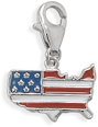 American Flag Country Charm in Sterling Silver