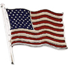 American Flag Lapel in 14K Solid White Gold
