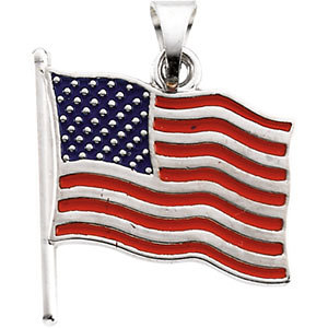 American Flag Pendant in 14K White Gold
