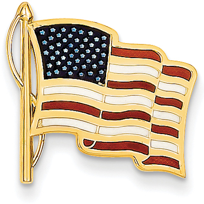 14K Solid Gold American Flag Tie-Tac, Red White and Blue