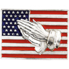 American Flag Lapel with Praying Hands in 14K White Gold