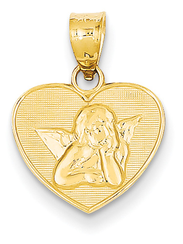 Angel Heart Pendant, 14K Gold