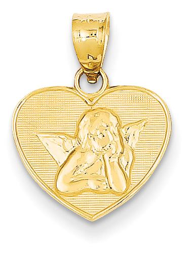 Angel heart pendant 14k gold aloadofball Choice Image