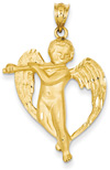 Angel Pendant with Flute, 14K Gold