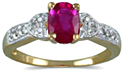 Antique Style Ruby and Diamond Heart Ring, 14K Gold