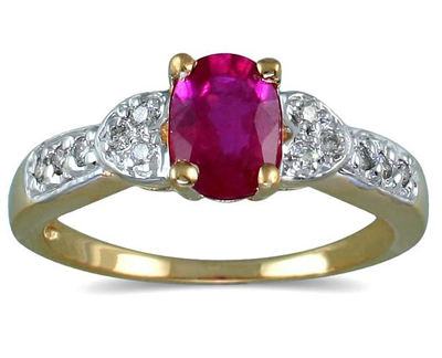 Antique Style Ruby and Diamond Heart Ring 14K Gold