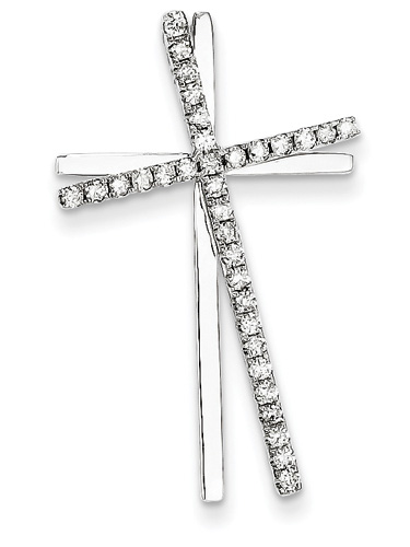 Carry the Cross Diamond Pendant, 14K White Gold