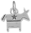 Democratic Donkey Charm in Sterling Silver