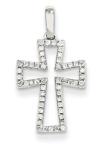 Diamond Cut-Out Cross Necklace in 14K White Gold