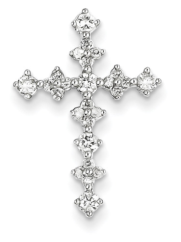 1/2 Carat Diamond Cross Pendant, 14K White Gold