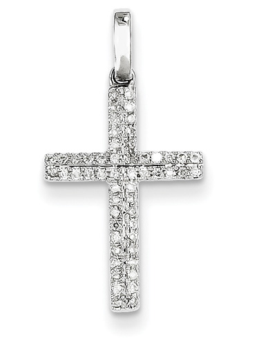 Double Row Diamond Cross, 14K White Gold