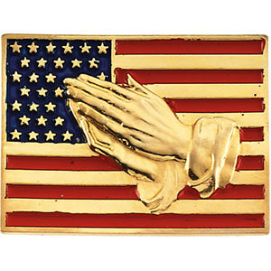 14K Solid Gold American Flag Lapel with Praying Hands
