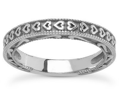 Unique Hearts Wedding Band in 14K White Gold