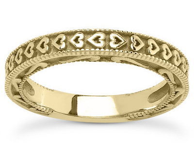 yellow gold heart wedding band