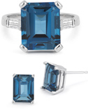 Emerald-Cut London Blue Topaz Ring and Earring Set