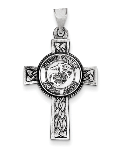 United States Marine Corps Cross Pendant in Sterling Silver