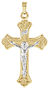 Mens Crucifix Pendant, 14K Two-Tone Gold