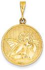 Renaissance Angel Medallion Pendant, 14K Yellow Gold