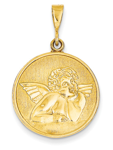 Renaissance Angel Medallion Pendant, 14K Yellow Gold