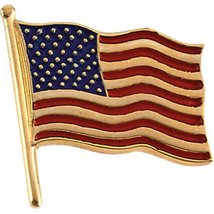 Vintage Style Jewelry, Retro Jewelry 14K Solid Gold American Flag Lapel $199.00 AT vintagedancer.com