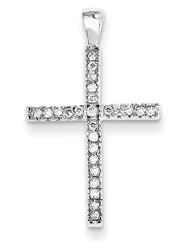 Traditional Diamond Cross Pendant, 14K White Gold