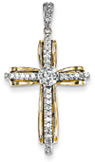 Thou Art My Confidence Diamond Cross Pendant, 14K Two-Tone Gold