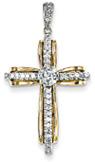 Thou Art My Confidence Diamond Cross Pendant, 14K Two-Tone Gold