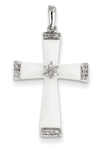 White Agate and Diamond Cross Pendant, 14K White Gold