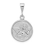 14K White Gold Angel Disc Pendant